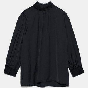 NWT Zara High Collar Satin Effect Blouse